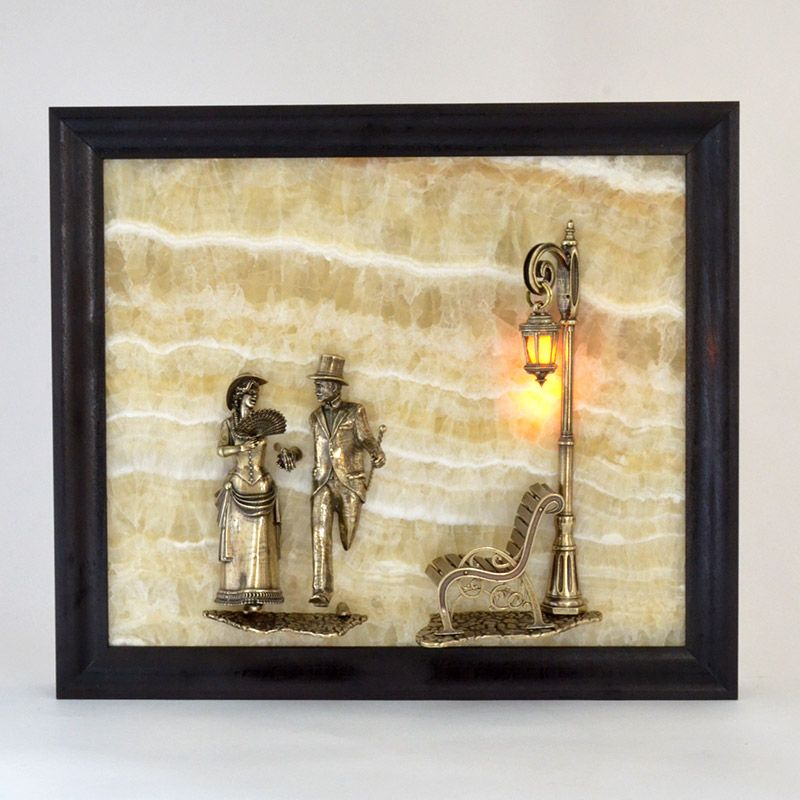 "Картина из оникса ""Вечерняя прогулка"" с подсветкой"