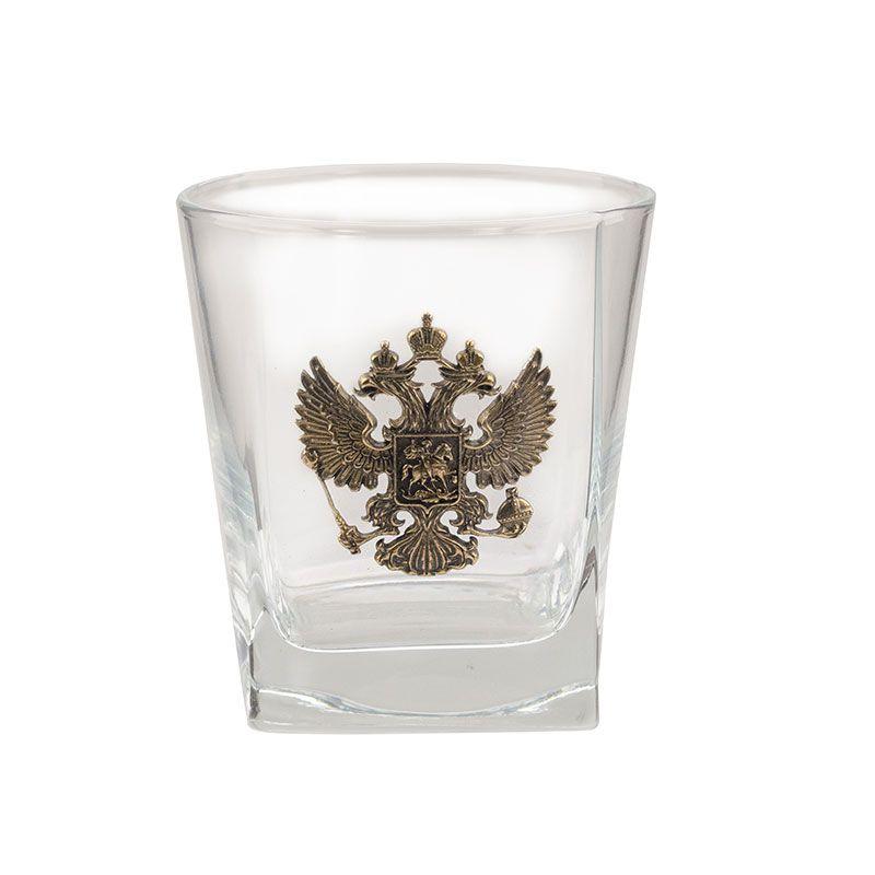 """Коллекционный сувенирный стакан для виски """"Герб России"""""""