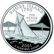 25 центов США 2001г - Род-Айленд, UNC - Серия Штаты и территории