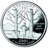 25 центов США 2001г - Вермонт, UNC - Серия Штаты и территории
