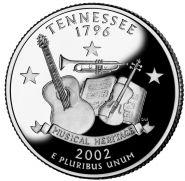25 центов США 2002г - Теннесси, UNC - Серия Штаты и территории