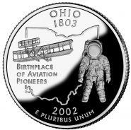 25 центов США 2002г - Огайо, UNC - Серия Штаты и территории