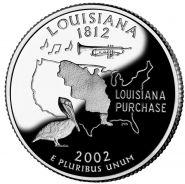 25 центов США 2002г - Луизиана, UNC - Серия Штаты и территории
