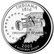 25 центов США 2002г - Индиана, UNC - Серия Штаты и территории
