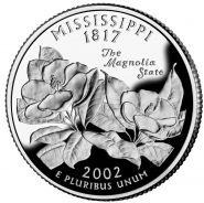 25 центов США 2002г - Миссисипи, UNC - Серия Штаты и территории