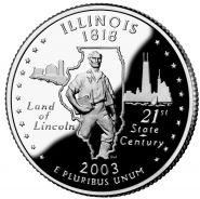 25 центов США 2003г - Иллинойс, UNC - Серия Штаты и территории