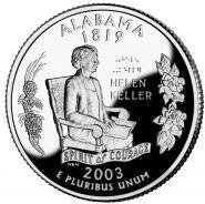 25 центов США 2003г - Алабама, UNC - Серия Штаты и территории