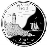25 центов США 2003г - Мэн, UNC - Серия Штаты и территории