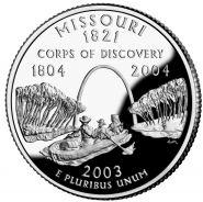 25 центов США 2003г - Миссури, UNC - Серия Штаты и территории