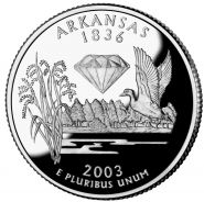 25 центов США 2003г - Арканзас, UNC - Серия Штаты и территории