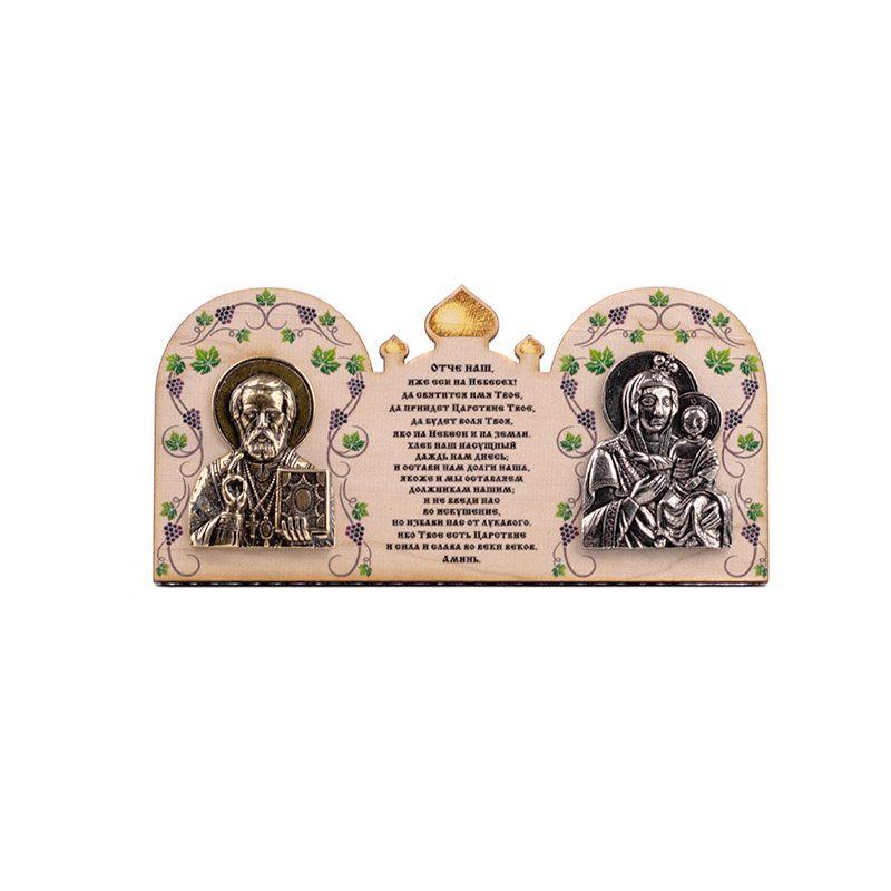 """Деревянная иконка """"Богородица Иверская и Николай Чудотворец"""""""