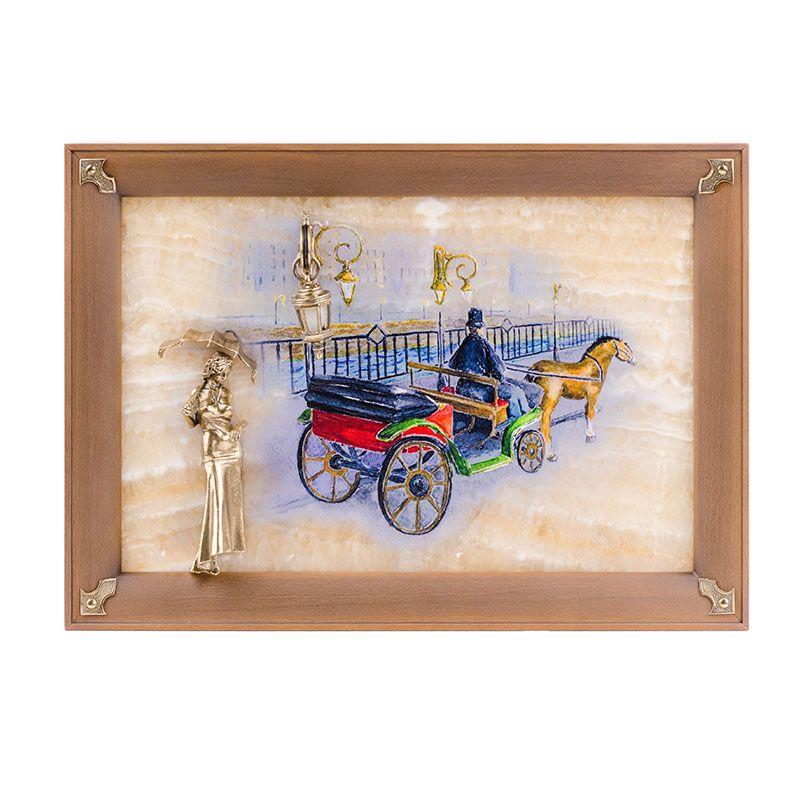 """Картина на ониксе """"Связь времён. Девушка с зонтиком"""" с росписью и подсветкой"""
