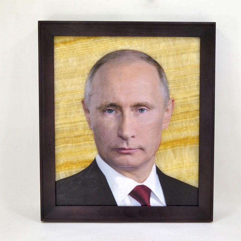 """Картина на ониксе """"В.В. Путин"""" в рамке"""