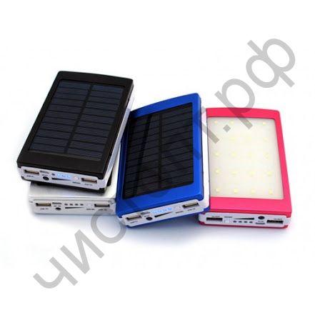 Моб. заряд. устрой. EK-1 20000 mAh 2USB солнечная батарея 2 фонарика PowerBank
