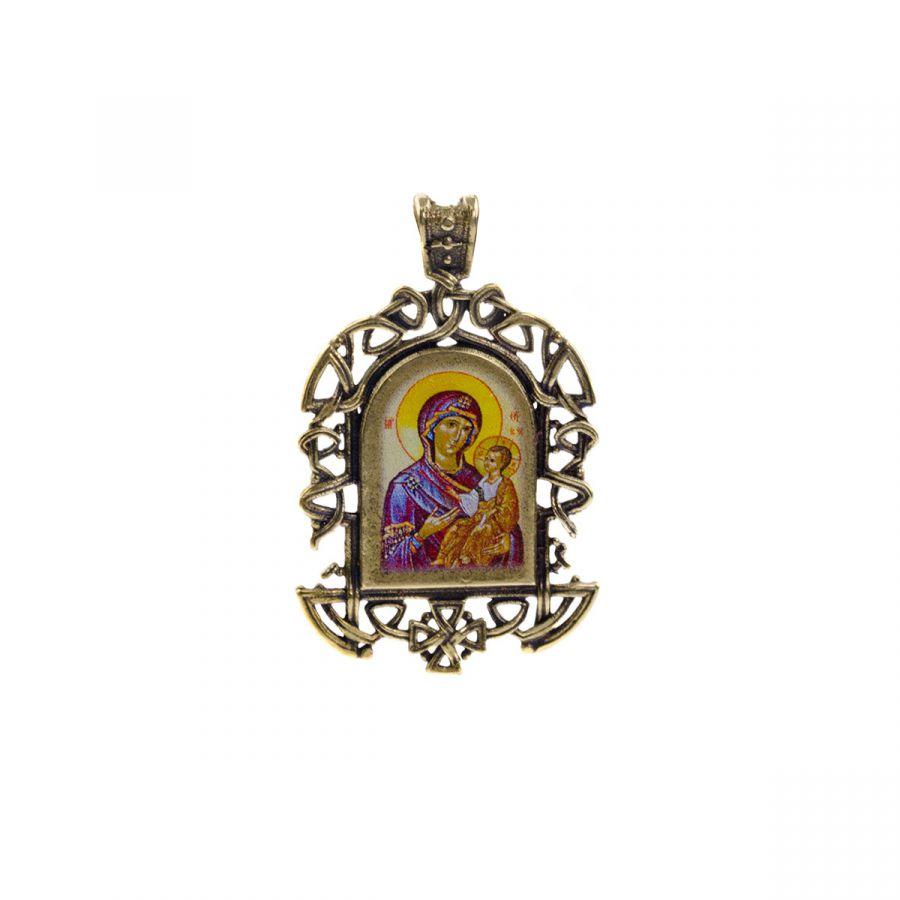 """Бронзовая нательная иконка """"Иверская икона Божией Матери"""" на шнурке"""