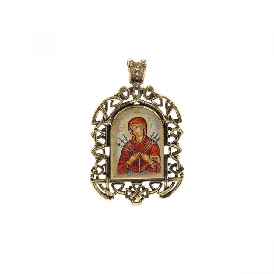 """Бронзовая нательная иконка """"Семистрельная икона Божией Матери"""" на шнурке"""