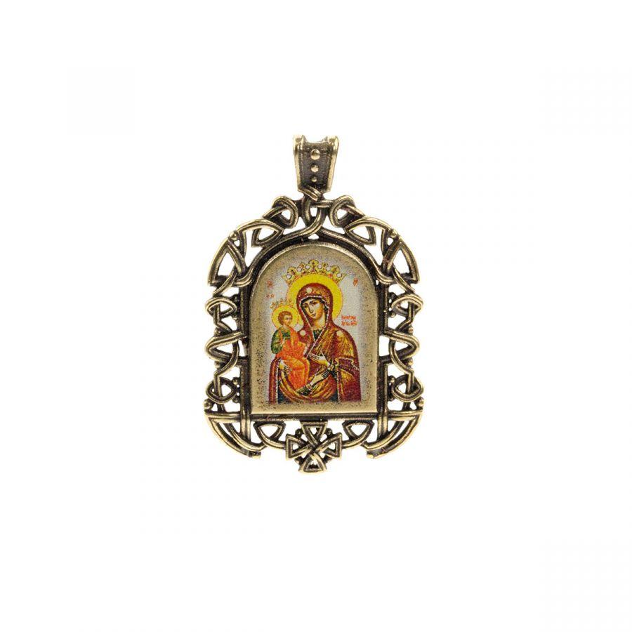 """Бронзовая нательная икона """"Божия Матерь Троеручица"""" на шнурке"""