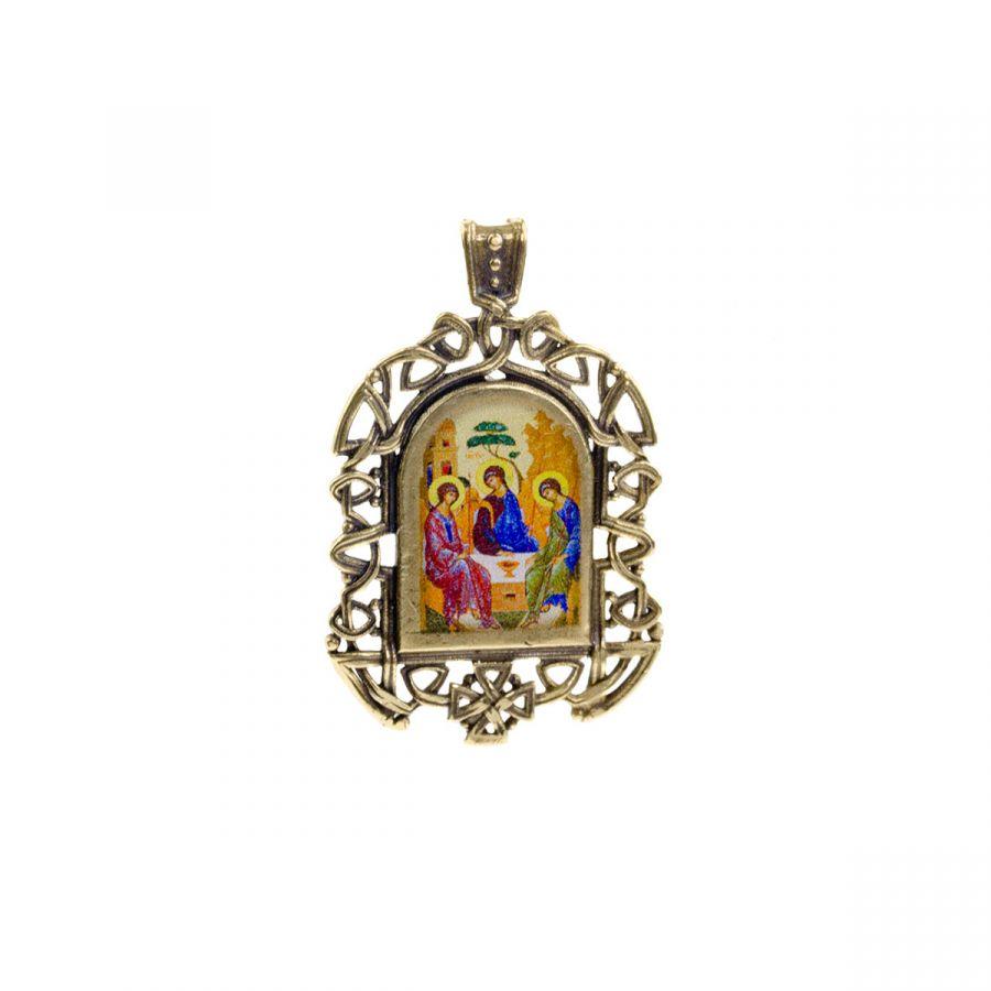 """Бронзовая нательная икона """"Святая Троица"""" на шнурке"""