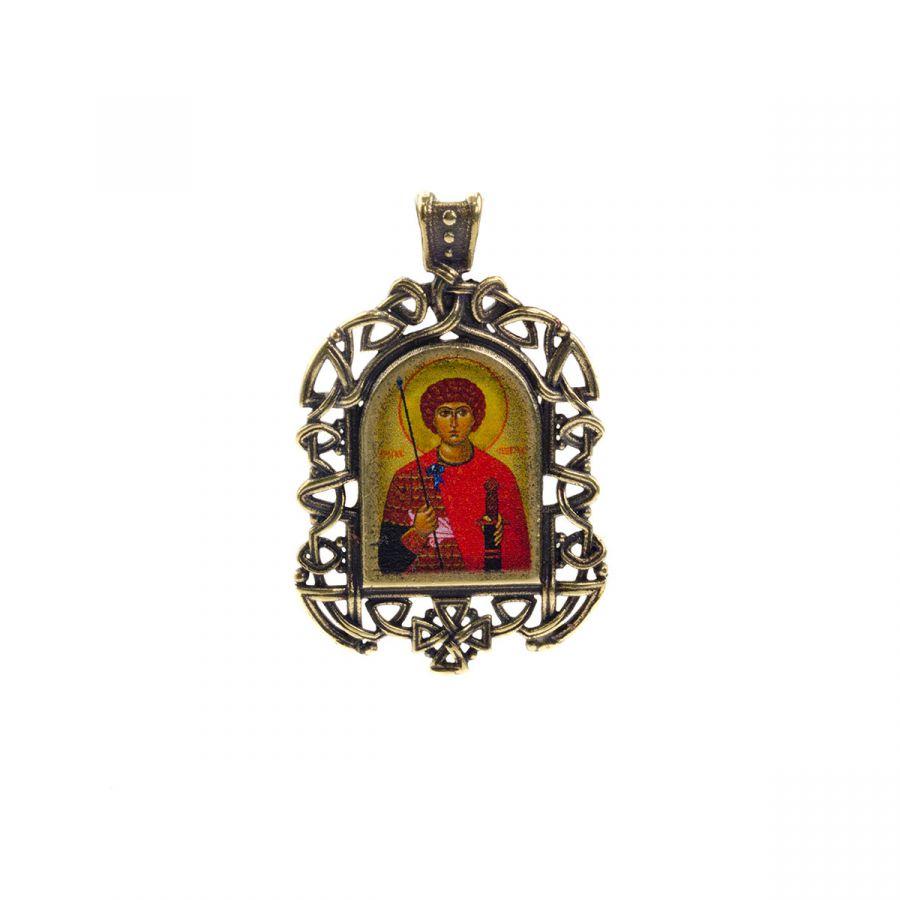 """Бронзовая нательная икона """"Георгий Победоносец"""" на шнурке"""