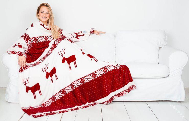 Плед с рукавами Sleepy бордовый с оленями с поясом