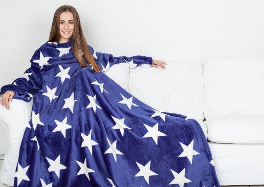 Плед с рукавами Sleepy синий с белыми звёздами с поясом