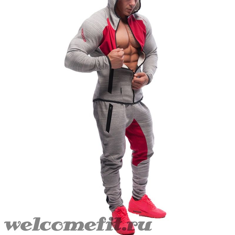 Muscle Fit Zipper Grey-Red