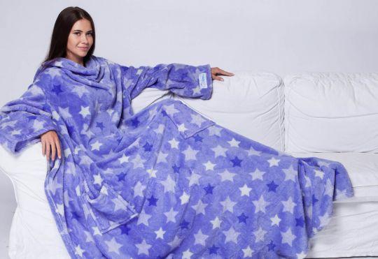 Плед с рукавами Sleepy фиолетовый со звёздами с поясом