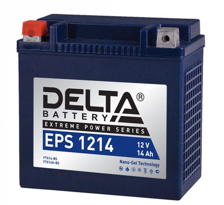 Мото аккумулятор АКБ Delta (Дельта) EPS 1214 14Ач п.п YTX14-BS, YTX14H-BS