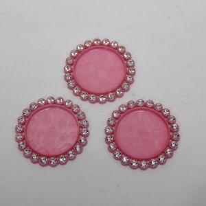 Крышка со стразами, пластик, Двнеш. 35мм, Двнутр. 25мм, цвет: 16 розовый (1уп = 10шт)
