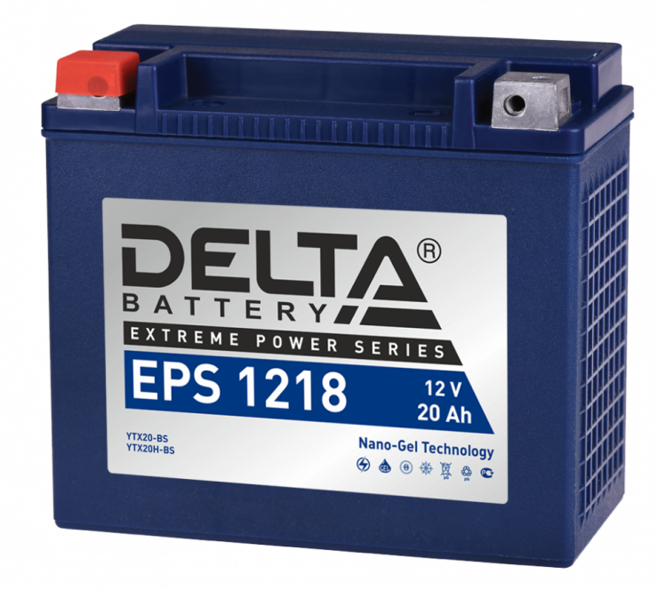 Мото аккумулятор АКБ Delta (Дельта) EPS 1218 20Ач п.п YTX20-BS, YTX20H-BS