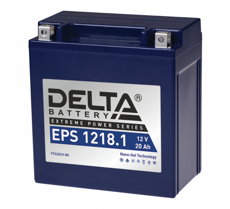 Мото аккумулятор АКБ Delta (Дельта) EPS 1218.1 20Ач п.п YTX20СН-BS