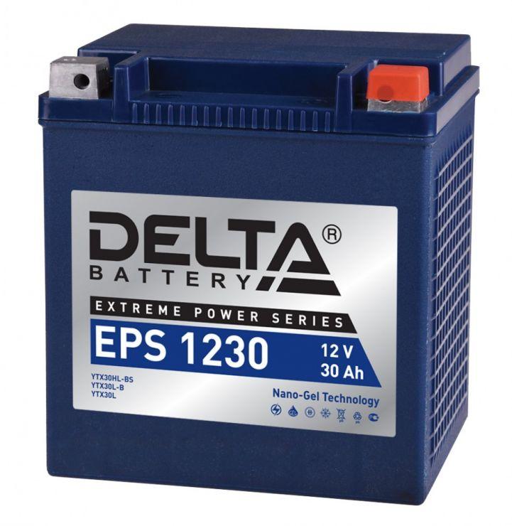 Мото аккумулятор АКБ Delta (Дельта) EPS 1230 30Ач о.п YTX30HL-BS, YTX30L-B, YTX30L