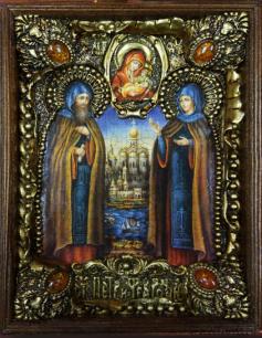 """Икона """"Петр и Феврония, муромские"""" 14 х 19 см. в киоте, роспись по дереву, самоцветы, оклад"""