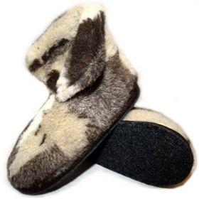 Тапочки теплушки высокие из шерсти на войлочной подошве Лоскуток