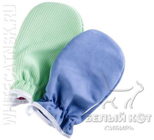 Комплект варежка косметическая тёмно-голубая + варежка для сауны зелёная Nano Sliced