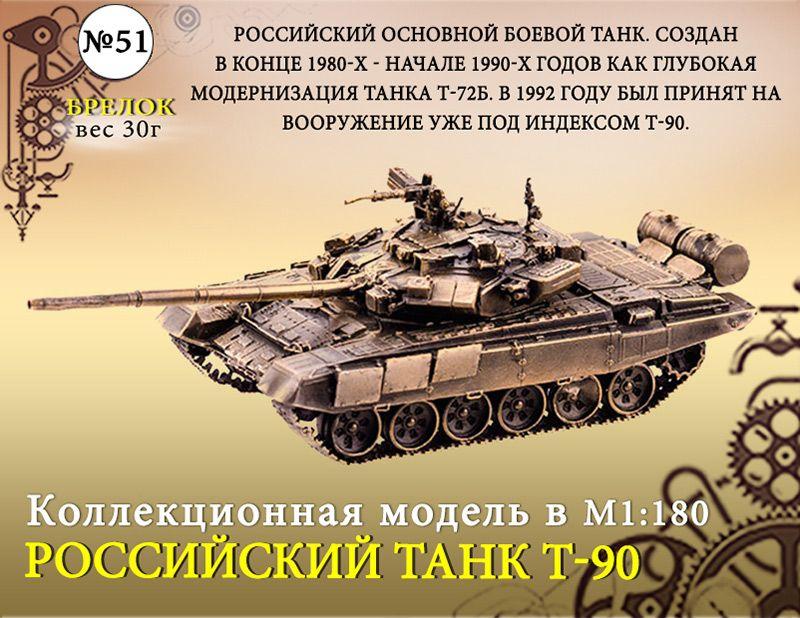 """Форма №51 """"Танк Т-90. Брелок""""(1:180)"""