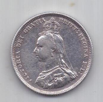 1 шиллинг 1887 г. AUNC. Великобритания