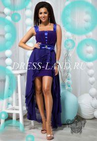 Синее платье со шлейфом и съемным поясом