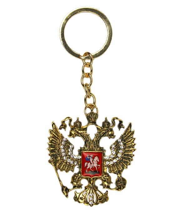 Брелок Герб России со стразами