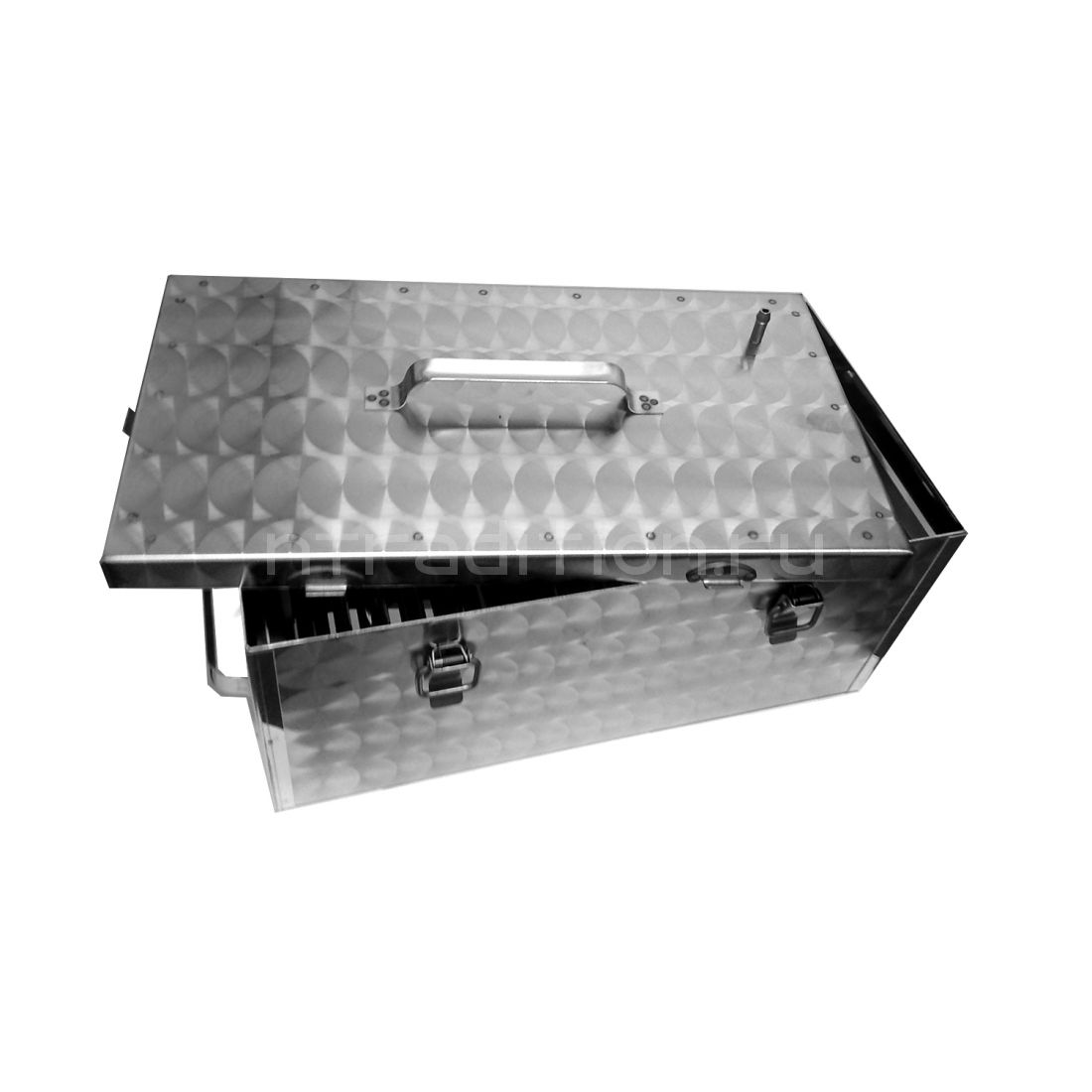 Коптильня на замках серебро 440х240х200