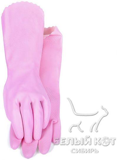 Защитные виниловые перчатки Блеск розовые размер S