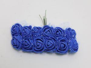 `Цветы из фоамирана с органзой, 11-12 цветков, цвет: синий