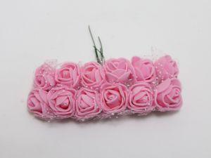 `Цветы из фоамирана с органзой, 11-12 цветков, цвет: светло-розовый