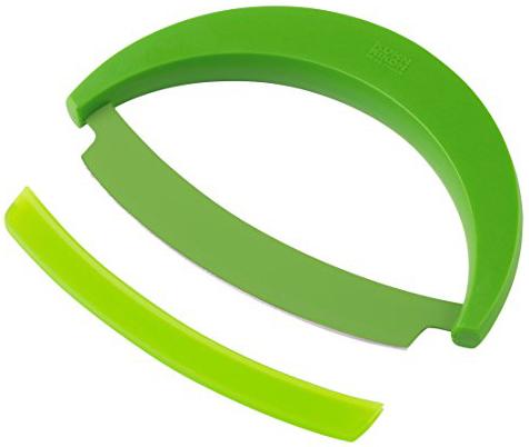 Круглый нож Mezzaluna рифлёный Kuhn Rikon зелёный 25301