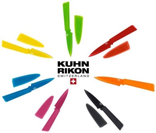 Нож малый Kuhn Rikon Colori зубчатое лезвие (зелёный, голубой, красный, жёлтый, оранжевый, розовый, чёрный)