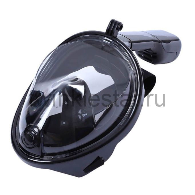 Маска для снорклинга с креплением для экшн-камеры FREEBREATH, черная, размер L-XL
