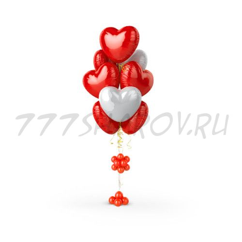 Фонтан из 9 фольгированных сердец
