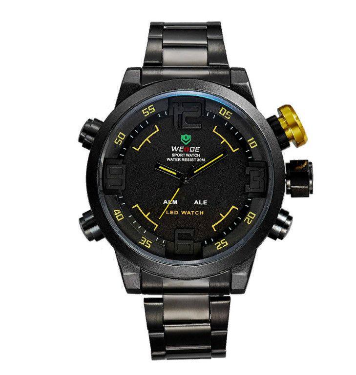 Мужские LED Часы WEIDE WH-2309, Черные С Желтым