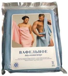 Полотенце вафельное 80 х 150 см голубое
