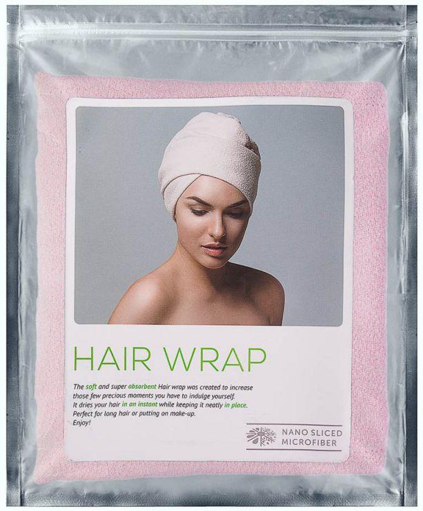 Тюрбан для сушки волос розовый
